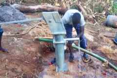Nearly-completed well, already pumping out water