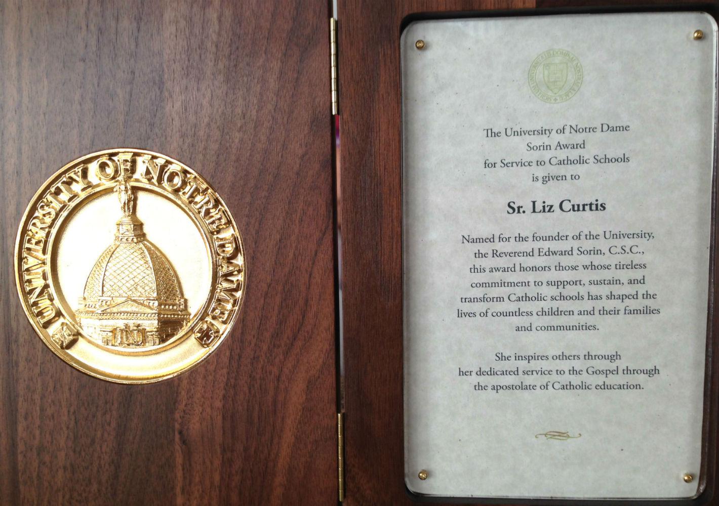 Catholic Schools Award for Sr Liz Curtis RIP